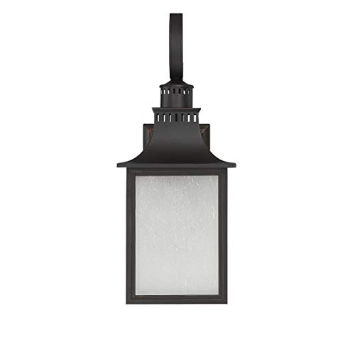 Savoy House Lighting 5-258-13 Monte Grande Collection 1-Light Outdoor Wall Mount 17.75-Inch Lantern, English Bronze with Pale Cream Seeded Glass