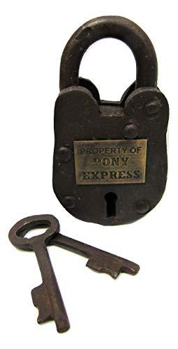 Prison Lock Padlock Antique-Finish w/Keys - Pony Express