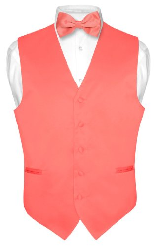 Men's Dress Vest & BowTie Solid CORAL PINK Color Bow Tie Set Large