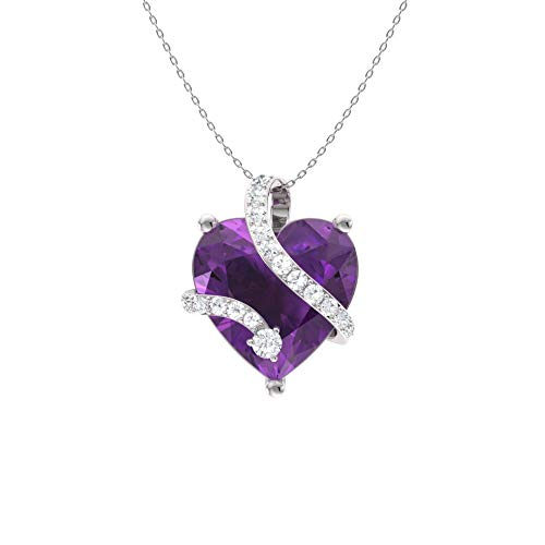 - Diamondere Natural and Certified Heart Cut Amethyst and Diamond Wrap Heart Petite Necklace in 14k White Gold | 1.68 Carat Pendant with Chain