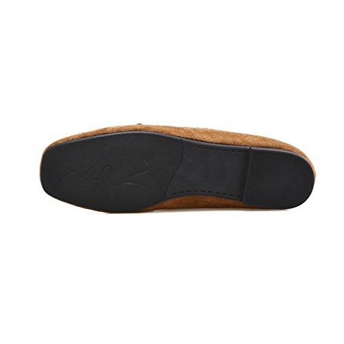 Dameskant Suède Vierkante Neus Faux Bont Penny Loafers Platte Gesp Slip-on Klassieke Casual Loafer Schoenen Bruin