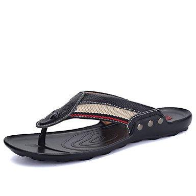 Sandalias de verano zapatos de hombre Casual / exterior de cuero / tela Flip-Flops negro / azul Negro