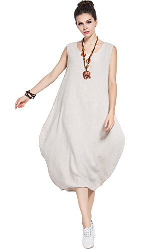 Plus Soft Size Summer Sleeveless Beige Dress Dress Y83 amp;cotton Linen Anysize YZwx6qTfT