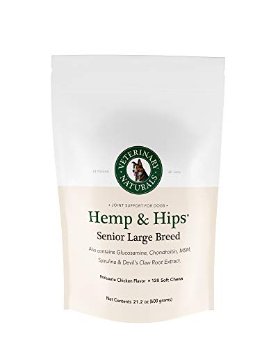 Veterinary Naturals Hemp & Hips Dog Joint Supplement - Glucosamine and Hemp Oil for Dogs - 'Senior Large Breed' Dog Arthritis Supplement - Soft Chew Senior Dog Vitamins (Chicken-120) (Best Supplements For Senior Dogs)
