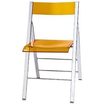 Clarity Acrylic Folding Chairs (Set Of 2)   Orange