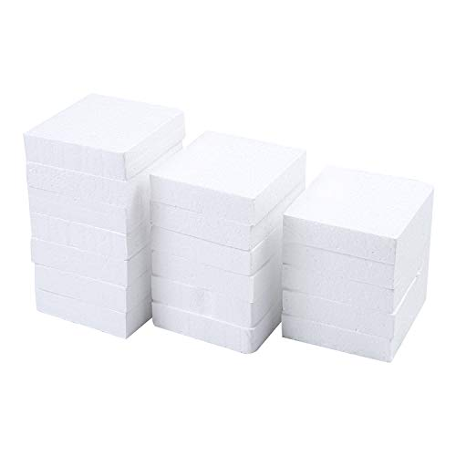 Resinta 18 Pack Craft Foam Block White Square Polystyrene Foam Block for DIY Arts and Sculpture, 4 x 4 x 1 Inches from Resinta