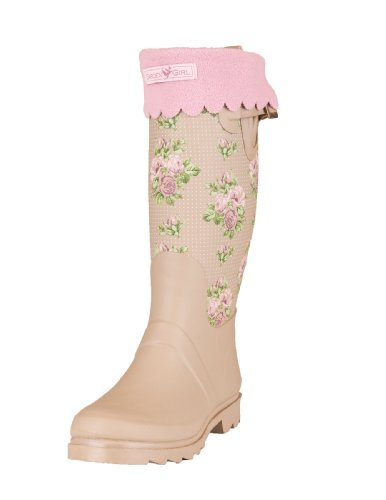 Garden Girl USA Wellington High Boot, 5-Inch, Roses Tan