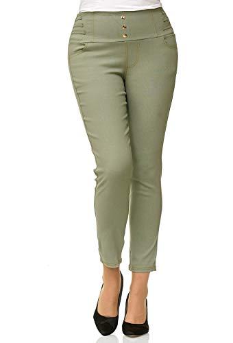 Tubo Donne Verde Treggings Jeans Corsetti Pantaloni D2490 Noname Alta Dimensione Vita Plus IdxqZ