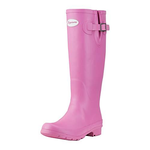 (JOYCORN Women's Wellies Rain Boots Original Waterproof Knee-High,(Pink,6 B M US))