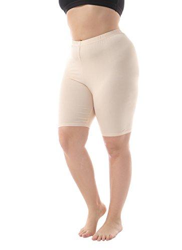 - Zerdocean Leggings Women's Modal Plus Size Mid Thigh Shorts Khaki 3X