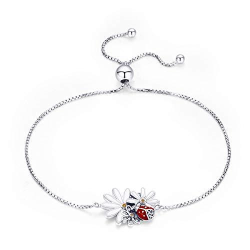 Bangle Daisy - BAMOER 925 Sterling Silver Ladybug's Daisy Flower Bracelet Inset Love Sunflower Womens Adjustable Bracelets Bangles for Women Gift Jewelry Accessory