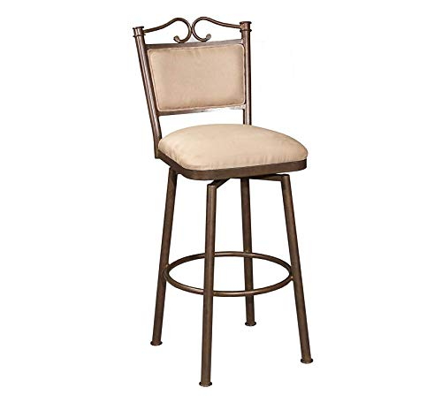 Wood & Style Furniture Memory Return Swivel Bar Stool, 30-Inch, Autumn Rust/Taupe Suede Home Bar Pub Café Office Commercial (Autumn Stool Bar Rust)