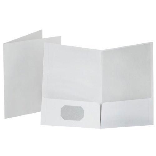 Oxford 53404 Linen Finish Twin Pocket Folders, Letter, White, 25/Box