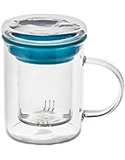 casa-vetro té Cristal All in One, Fuerte Grande Taza de té con Filtro y Tapa té de Safe gm Vidrio Borosilicato
