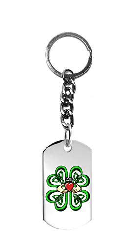 Hat Shark Irish Claddagh Ring w/Celtic Weave & Lucky Four Leaf Clover - 3D Color Printed Metal Ring Key Chain Keychain