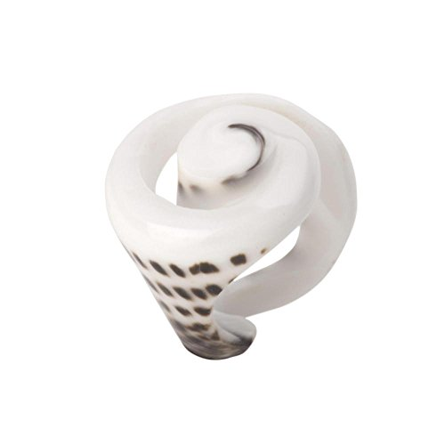 81stgeneration Women's Shell Natural White Leopard Spiral Conch Ring