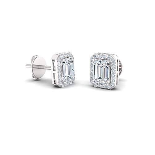 Diamondere Natural and Certified White Topaz and Diamond Petite Stud Earrings in 14K White Gold | 0.67 Carat Halo Earrings for Women
