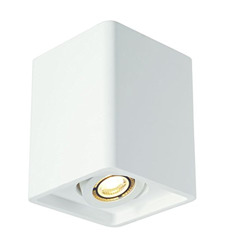 Contemporary Ceiling Spotlight - SLV Lighting 7148051U Contemporary Plastra Box 1 1-Light Ceiling Lamp - White Finish