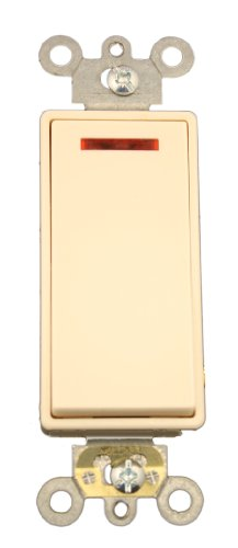 Leviton 5628-2T 20 Amp, 120 Volt, Decora Plus Rocker Pilot Light, Illuminated On, Req. Neutral Single-Pole AC Quiet Switch, Commercial Grade, Self Grounding, Light Almond ()