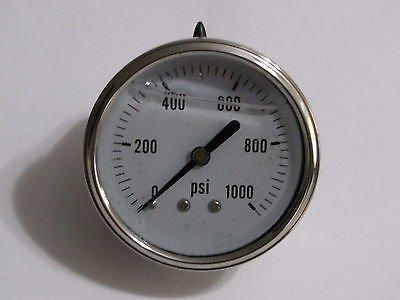 Hydraulic Liquid Filled Pressure Gauge 0-1000 PSI 1/4 NPT Center Back Mount Liberty Pneumatics