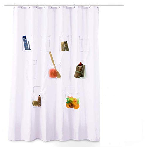 S H Design Water-Repellent Fabric Shower Curtain or Liner with Durable Mesh Pockets, Bath Organizer, White, 70x70