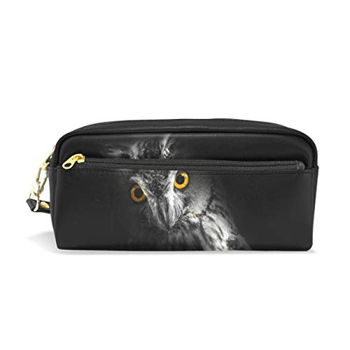 XINGCHENSS Pencil Case Stylish Print Scary Owl Eyes Spooky Halloween Black Bird Sign Art Pattern Large Capacity Pen Bag Makeup Pouch Durable Students Stationery Two Pockets with Double Zipper