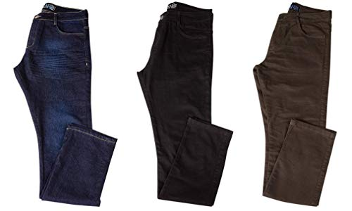 Kit com 3 Calças Jeans Sarja Masculina Skinny Slim com Lycra - Jeans Escuro, Preta e Verde - 46