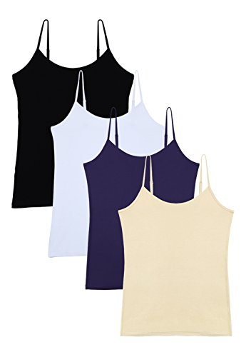 Vislivin Women's Basic Solid Camisole Adjustable Spaghetti Strap Tank Top Black/White/Dark Blue/Apricot XL