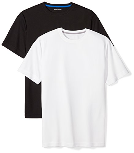 Amazon Essentials Men's 2-Pack Performance Mesh Short-Sleeve T-Shirts, Black/White, Large