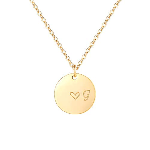 (Gold Initial G Pendant Necklaces,14K Gold Filled Engraved Disc Personalized Name Dainty Handmade Cute Heart Initial G Tiny Pendant Necklaces Jewelry Gift for Women)