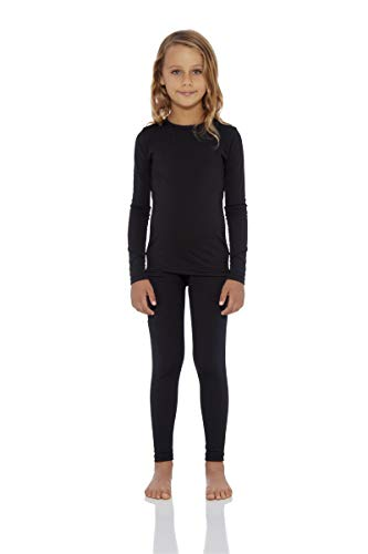 Rocky Girls Fleece Lined Thermal 2PC Underwear Set Top and Bottom (L, Black) -