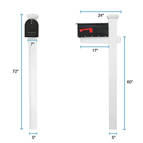 Houseables Mailbox Post Kit System, Mail Box Included, Combo White & Black, 72'' x 4'', Vinyl PVC Plastic Post & Mounting Arm, Aluminum Mailboxes, Steel Anchor, Rust Proof, For Home, Residence, Curbside by Houseables (Image #3)