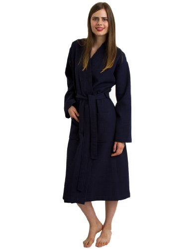 - TowelSelections Women's Robe, Kimono Waffle Spa Bathrobe Medium/Large Navy