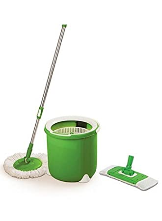 Scotch-Brite Jumper Single Bucket Floor Cleaning Spin Mop with 1 Round & 1 Flat Mop Refill