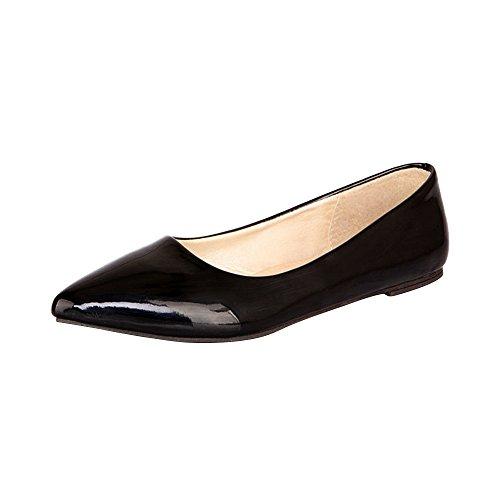OCHENTA Mujer Color Caramelo de Charol Puntiagudo Moda Salvajes Zapatos Negro