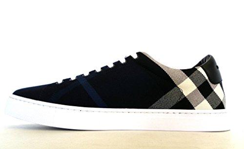 Burberry Sneakers Scarpe Uomo in Tessuto e Pelle Modello 4054042 Blu + Nero