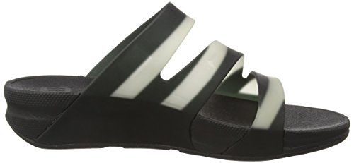Fitflop Superjelly Twist With Stripe - Sandalias Mujer Black (Black)