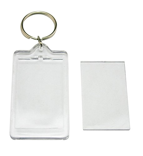 HugeStore 12 Pcs Clear Acrylic Blank Photo Keyring Photo Frame Keychains Snap-In Photo Picture Frame Rectangle