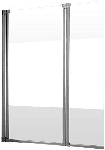Pare bañera con tapa, mampara de ducha reversible, mampara plegable 114 x 130 cm, pantalla bañera con 2 motores giratorios, cristal Décor décent, perfil Alu Nature: Amazon.es: Bricolaje y herramientas