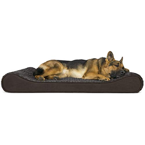 Furhaven Pet Dog Bed | Orthopedic Ultra Plush Faux Fur Ergonomic Luxe Lounger Cradle Mattress Contour Pet Bed w/ Removable Cover for Dogs & Cats, Chocolate, Jumbo (Replacement Bed Rectangle Covers Dog)