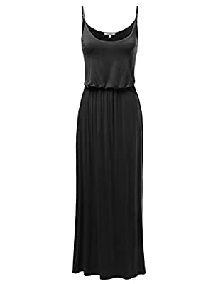 Awesome21 Women's Solid Adjustable Strap Cami Maxi Dresses