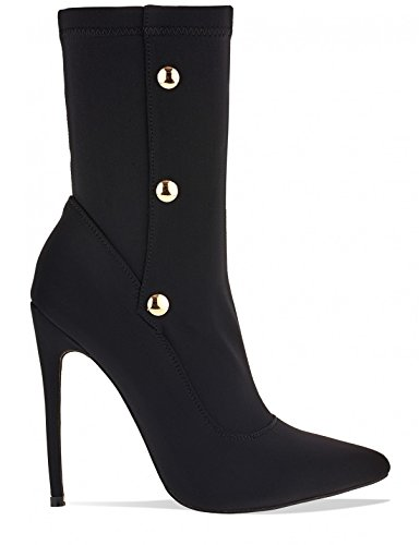 LAMODA Womens Stiletto Stretch Sock Ankle Boots with Popper Detail in Lycra Black fC3UaKAxSX