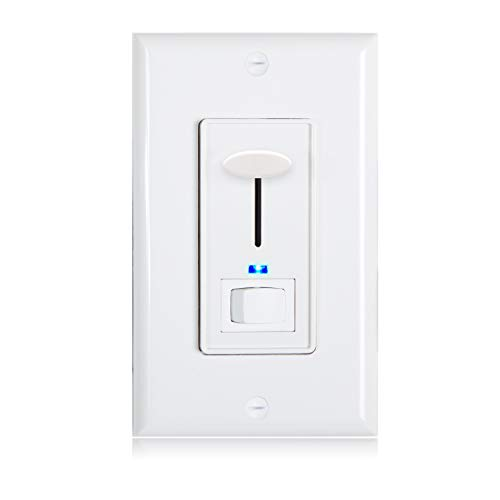 - Maxxima 3-Way/Single Pole Dimmer Electrical Light Switch with Blue Indicator Light 600 Watt max, LED Compatible, Wall Plate Included