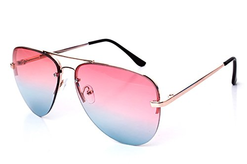 SojoS Unisex Fashion Multicolor Gradient Flat Lens Teardrop Glass Aviator Sunglasses With Gold Frame/Pink and Blue (Blue Lens)