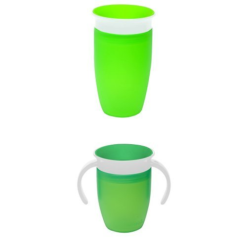Munchkin Miracle 360 Tranier and Sippy Cup, 207 ml/296 ml, 2 Count - Green