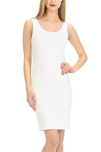 - MINEFREE Women's Scoop Neck Slim Fit Stretchy Bodycon Tank Mini Dress Ivory L