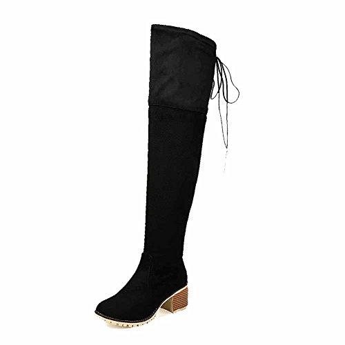 AllhqFashion Mujeres Puntera Cerrada Redonda Caña Alta Tacón ancho Sólido Botas con Metal Negro