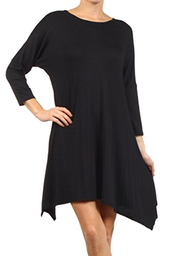 2LUV-Plus-Womens-Dolman-Sleeve-Asymmetric-Knit-Tunic-Dress