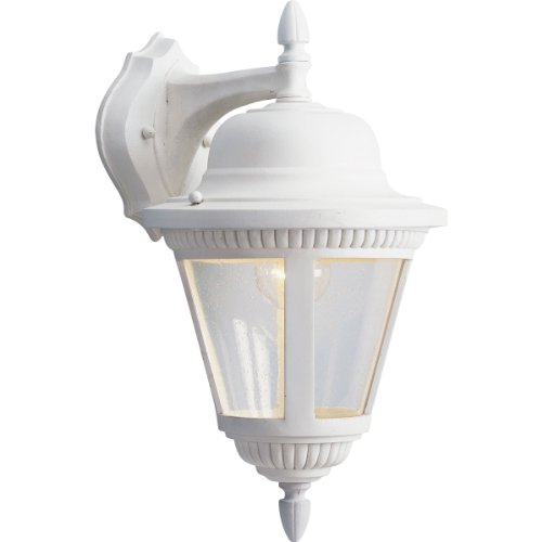 Progress Lighting P5863-30 1-Light Cast Wall Lantern with Clear Seeded Glass, White