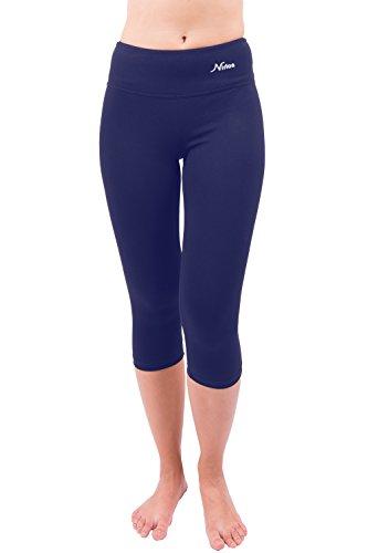 Capri Yoga Pants Capri's for Women Best Cropped Leggings Athletic Running Jogging Workout & Sport Cotton Spandex (M, Navy Blue 18″ Inseam)